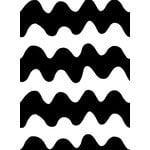Marimekko Lokki kangas, musta - valkoinen