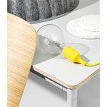 Muuto Base pöytä pyöreä 110 cm, laminaatti vanerireunalla, valkoinen