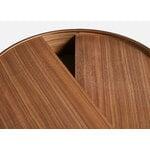 Woud Arc coffee table, matt lacquered walnut