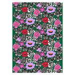 Marimekko Kaukokaipuu cotton panama fabric, green - violet - red