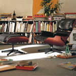 Vitra Eames Lounge Ottoman, santos palisander - black leather