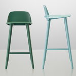 Muuto Nerd bar stool, low, green, PU lacquer