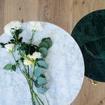 OX Denmarq Mini O table, brass - green marble