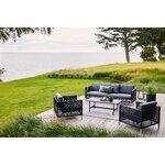 Cane-line Twist sohvapöytä, 120 x 60 cm, tummanharmaa - musta