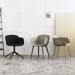 Muuto Fiber armchair, tube base, ochre - black