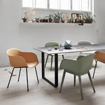 Muuto Fiber armchair, wood base, grey, PU lacquer