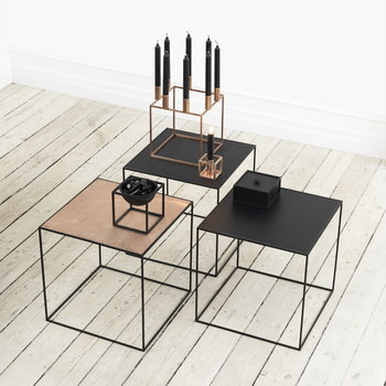 By Lassen Twin 42 table, copper/black stained ash