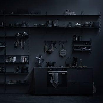 String String shelf 58 x 30 cm, 3-pack, black stained ash