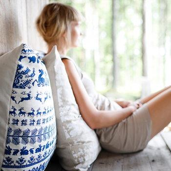Saana ja Olli Yö metsässä interior pillow, small, white-blue
