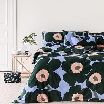 Marimekko Unikko duvet cover, light blue - peach