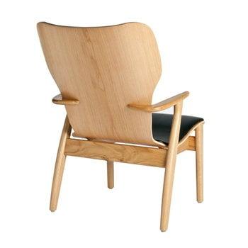 Artek Domus lounge chair, lacquered oak, black leather upholstered