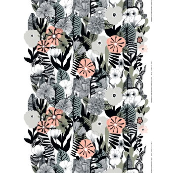 Marimekko Kasvu fabric, white-grey