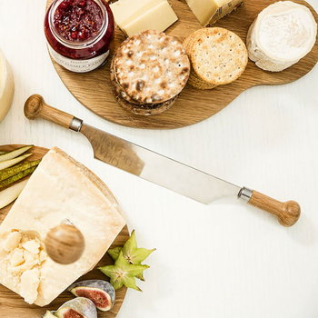 Sagaform Oval Oak cheese knife with two handles