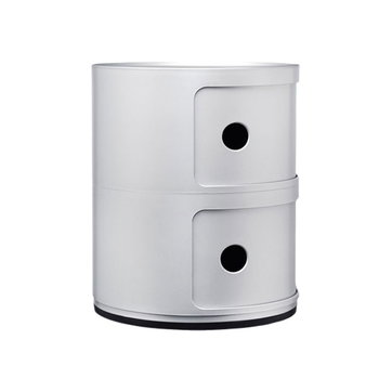 Kartell Componibili storage unit, 2 modules, silver