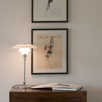 Louis Poulsen PH 3/2 table lamp, chrome plated, opal glass