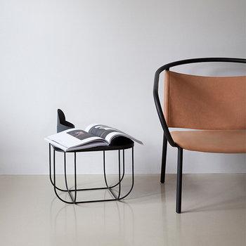 Menu Afteroom lounge chair, black base, cognac leather