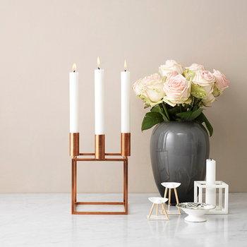 By Lassen Kubus 4 candleholder, copper