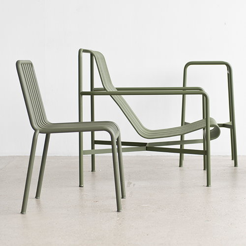 Hay Palissade lounge chair, high, olive