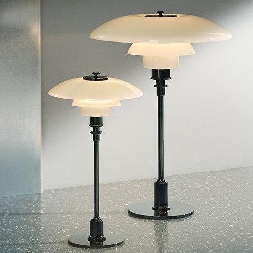 Louis Poulsen PH 3 1/2 - 2 1/2 table lamp, chrome plated, opal glass
