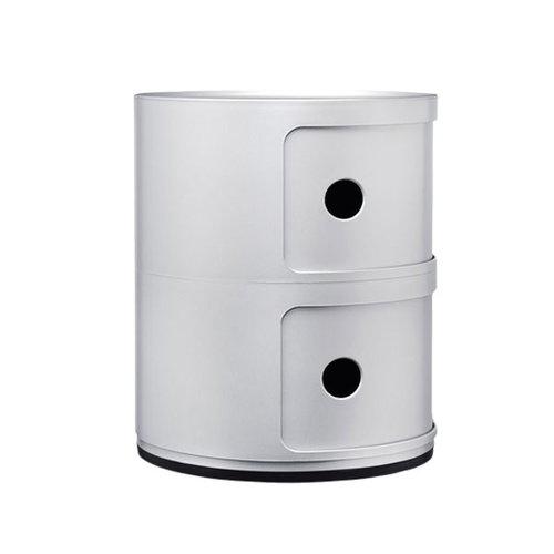 Kartell Componibili storage unit, 2 modules, silver