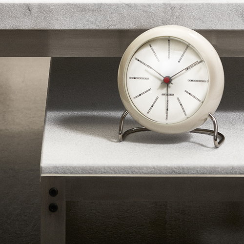 Arne Jacobsen AJ Bankers table clock with alarm, white