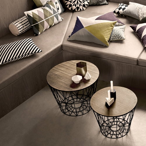 Ferm Living Wire basket top, medium, smoked oak