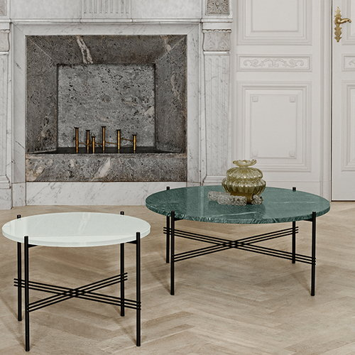 Gubi TS coffee table, 55 cm, black - green marble