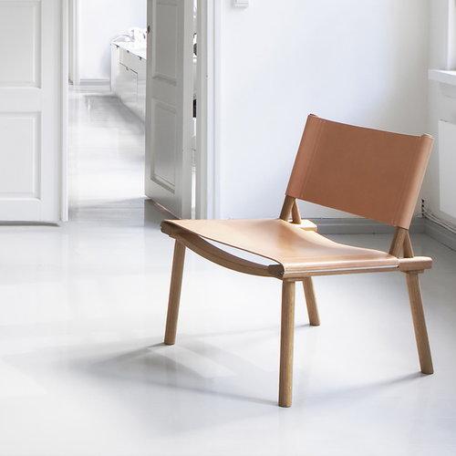 Nikari December XL chair oak, leather upholstery