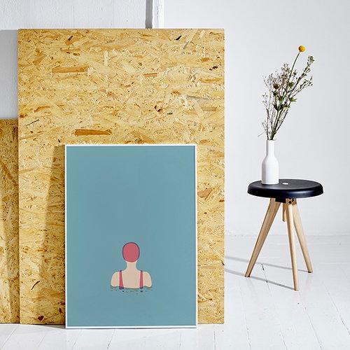 paper collective swimmer 01 poster finnish design shop. Black Bedroom Furniture Sets. Home Design Ideas