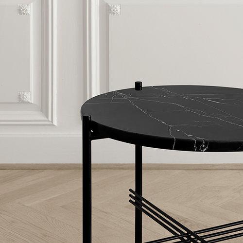 Gubi TS coffee table, 40 cm, black - black marble