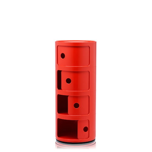 Kartell Componibili storage unit, 4 modules, red
