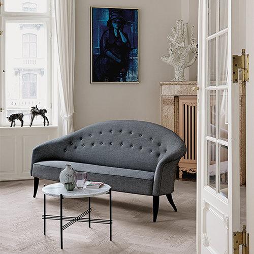 Gubi TS coffee table, 55 cm, black - white marble