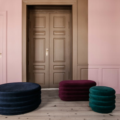 Ferm Living Pouf round, large, dark blue