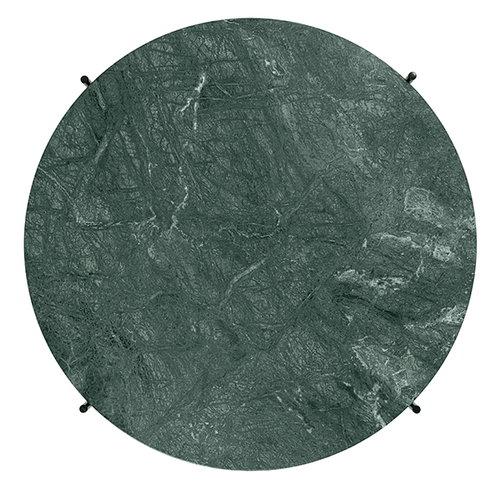 Gubi TS coffee table, 80 cm, brass - green marble