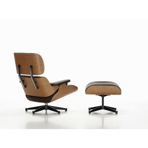 Vitra Lounge Chair nojatuoli, American cherry - musta nahka