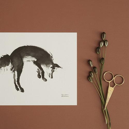 Teemu J�rvi Illustrations Leaping fox poster, 40 x 30 cm
