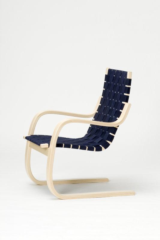Artek Aalto armchair 406, birch - black/blue webbing ...