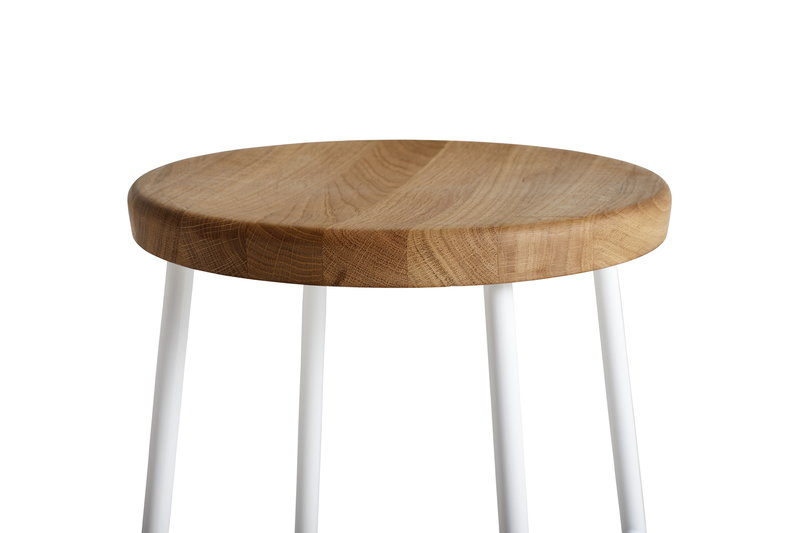 Hay cornet bar stool high cream white oiled oak finnish