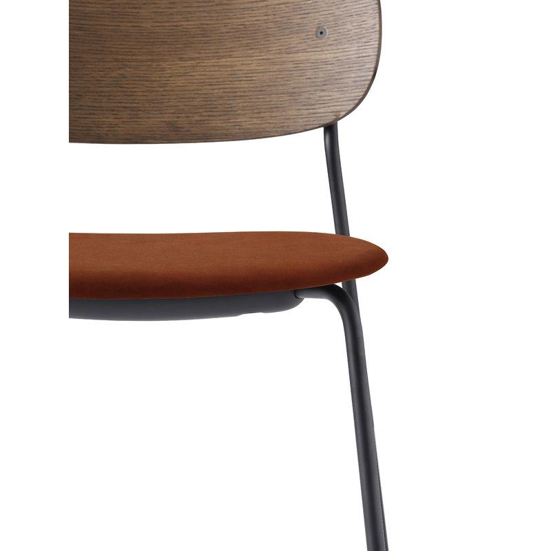 Enjoyable Menu Co Chair Stained Oak Orange Red Velvet Finnish Theyellowbook Wood Chair Design Ideas Theyellowbookinfo