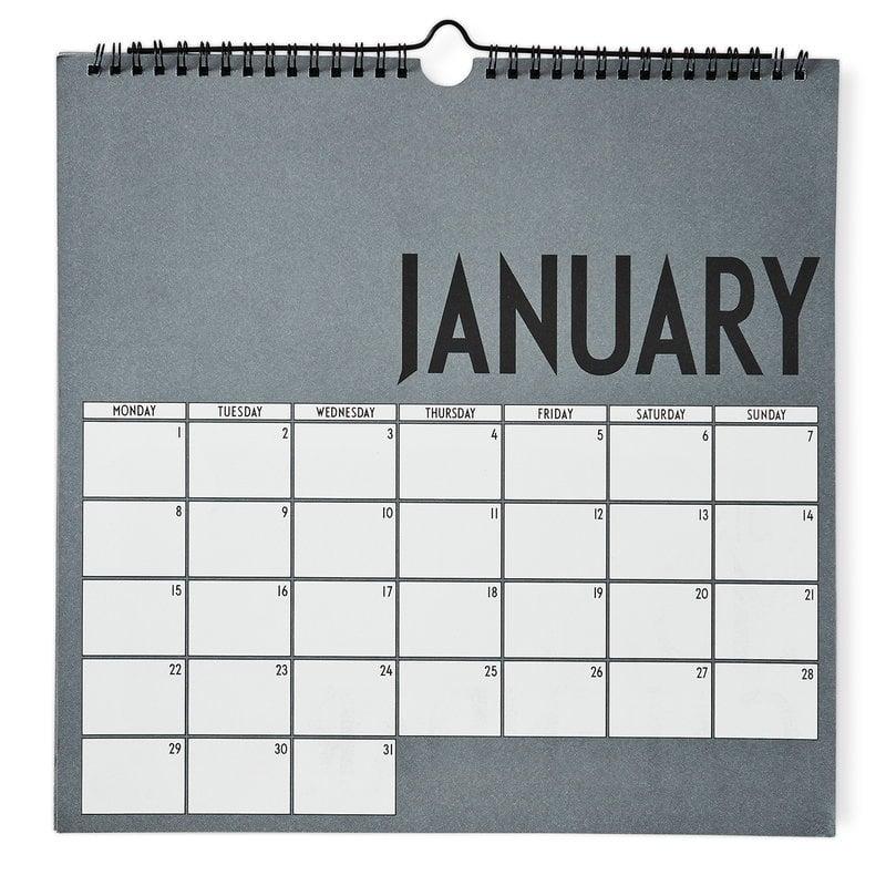 Calendar Design Letters : Design letters wall calendar grey finnish shop