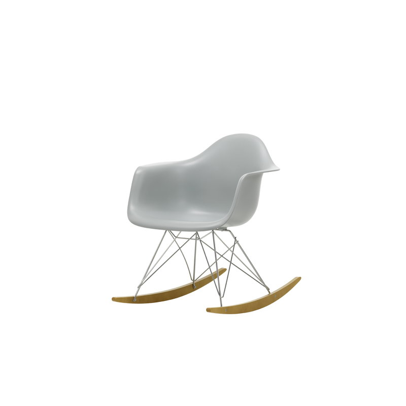 Awesome Eames Rar Rocking Chair Light Grey Chrome Maple Lamtechconsult Wood Chair Design Ideas Lamtechconsultcom