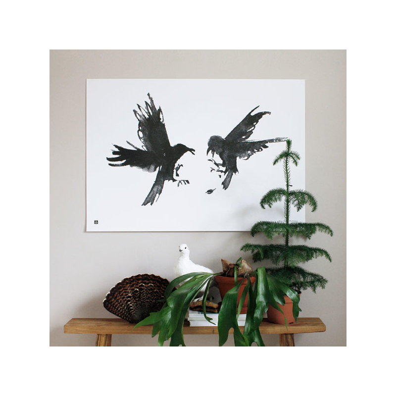 teemu jrvi illustrations raging ravens poster 100 x 70 cm. Black Bedroom Furniture Sets. Home Design Ideas