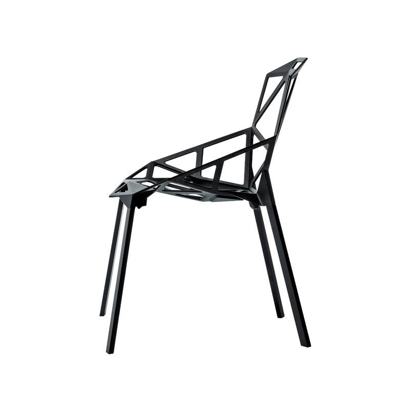 Chair One, Black, Painted Aluminium Legs