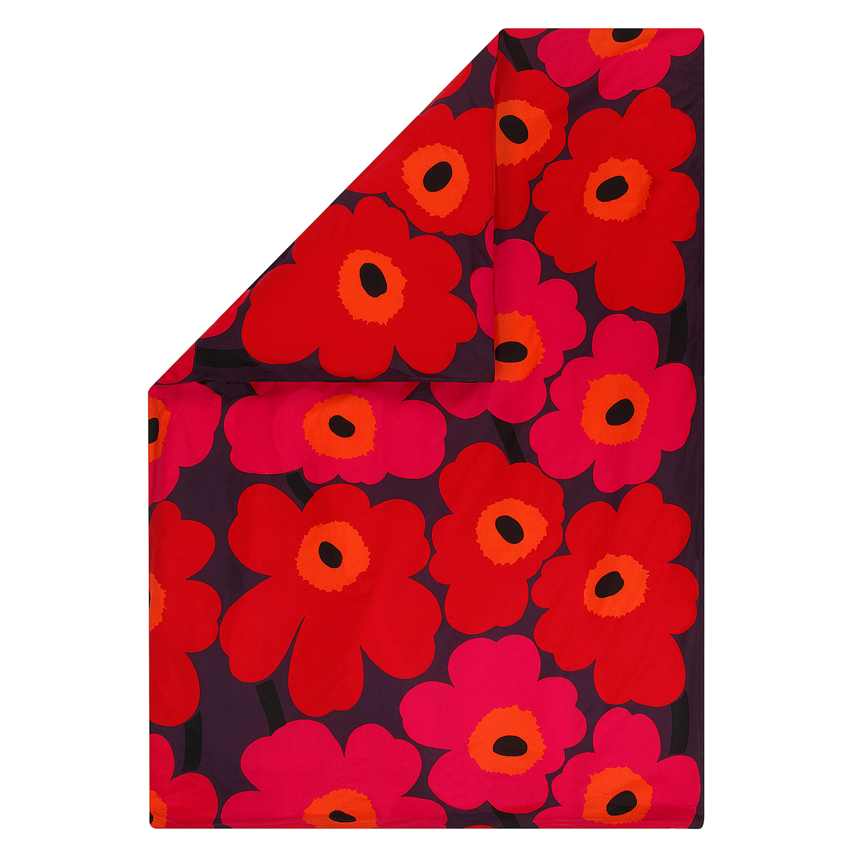 Marimekko Unikko Duvet Cover Red Orange Plum Finnish