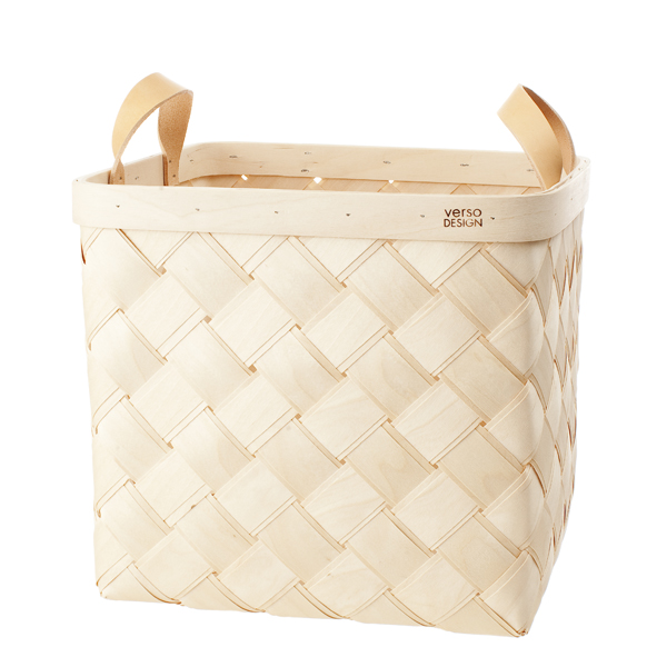 Lastu birch basket L, leather handles