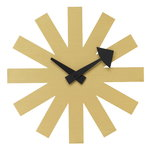 Asterisk wall clock, brass