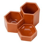 Hexagonal containers, set of 3, rust orange