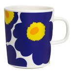 Oiva - Unikko mug 2,5 dl, white - dark blue - yellow