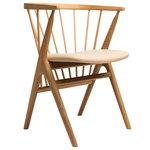 No 8 tuoli, öljytty tammi - hunajanvärinen nahka
