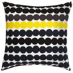 Räsymatto cushion cover, white-black-grey-yellow
